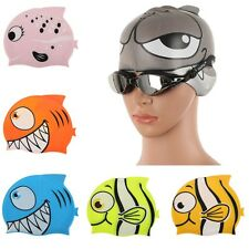 1Pc Cartoon Kids Childrens Child Silicon Fabric Waterproof Swimming Hat Swim Cap