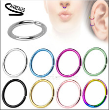 2pc. Anodized Steel Annealed Seamless Ear Cartilage Labret Septum Nose Hoop Ring