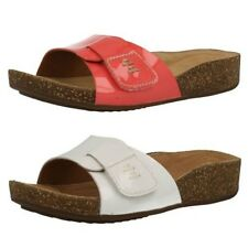 Ladies Clarks Open Toe Slip On Leather Mule Sandals Perri Reef
