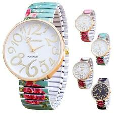 Luxury Women Fashion Elasticity Flower Shrink Bracelet Quartz Analog Wrist Watch