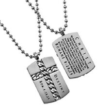 Christian Dog Tag Cross Necklace, DESTINY Romans 8:28,29 Steel Ball