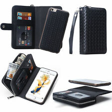 For iPhone  7 Plus Magnetic PU Leather Zipper Wallet Card Flip Pouch Case Cover