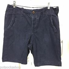 ABERCROMBIE & FITCH Classic Fit Shorts Navy Lightly Distressed Cotton NWT