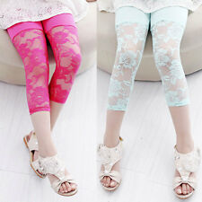 Kids Toddlers Girls Leggings Pants Floral Lace Stretch Capri Skin Tight Trousers