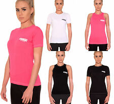 LADIES GYM YOGA T-SHIRT RUNNING BREATHABLE FITNESS SPORTS TRAINING EXERCISE TOP