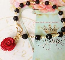 Romantic Red Rose VintageStyle Handmade Bracelet Wedding Mom'sGift Party