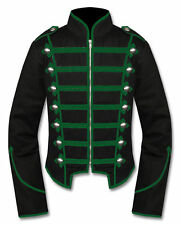 Men's Handmade Black&Green Military Marching Band Drummer Jacket New Style