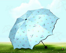 fresh sun umbrella fashion Women's rain umbrella UV-proof folding parasol flower