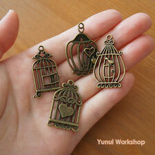 4pcs or Mixed: Vintage Style Bird Cage Pendant Metal Parts Deco Charm Craft