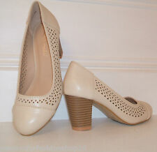 BNWB SIZE 3 4 5 6 7 8 NUDE BEIGE FAUX LEATHER LOW MID HEEL COMFY COURT SHOES
