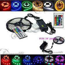 5M SMD 3528 Home car 300LED Flexible LED Strip Light Colorful 12V Power Supply