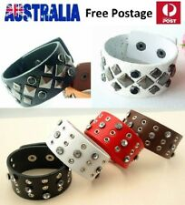 Leather & Stainless Steel Wide Stud Wristband Bracelet - Black or White LB07