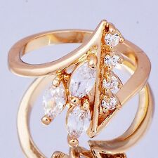 Impressive Yellow Gold Filled Women's Oval CZ Band Ring Size 5 6 7 8