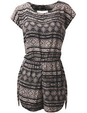 WooWooWork Women's Capsleeve Print Romper w/ Cut Out Back Black & Beige