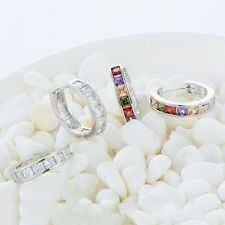 Vintage Womens cute openwork heart rainbow crystal silver plated hoop earrings