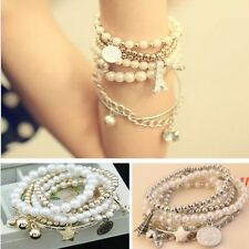 Multilayer Gold Metal Pearl Charm Pendant Bracelet Bangle Fashion Womens Jewelry