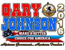 Libertarian Party T-Shirt Gary Johnson for President 2016  Hanes Beefy T's Sm-XL