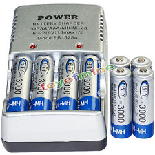 8 AA battery batteries Bulk Rechargeable NI-MH 3000mAh 1.2V BTY + Smart Charger