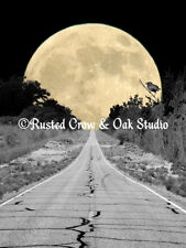 Crow overlooking Road to the Moon Original Signed Matted Picture Art Print A394
