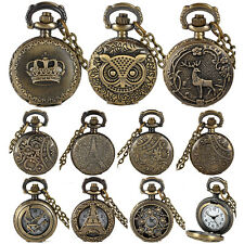Vintage Steampunk Bronze Antique Hollow Pocket Watch Necklace Pendant Chain