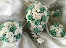 Wedding Flowers Ivory/Mint Roses Crystal Bouquet, Bride/Bridesmaids/Flowergirls