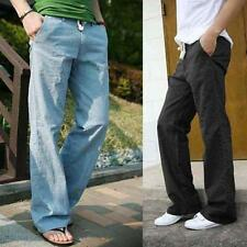 Mens Straight Casual Linen Slacks Loose Pants Beach Drawstring Long Trouser Size