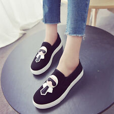 New Womens Grils Shoes Flat Platform Casual Canvas Loafers Cute Comfort Sneakers