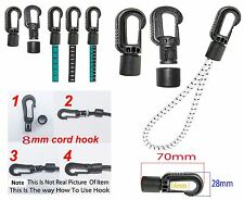 Bungee Shock Elastic Cord End Hooks Easy Fit For 8mm(Or 2 of 5mm) Cord Rope New