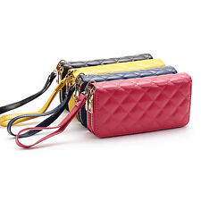 Women Double Zipper Rhombus Leather Wallet Bag Case Clutch Card Holder Purse