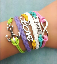 pick1/10Pc NEW Retro Infinity Love anchor Leather Charm Bracelet plated Silver