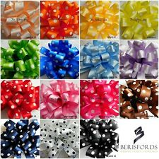 Berisfords 15mm - 25mm Polka Dot  Ribbon 15 Colours, 3 Lengths 2 Widths