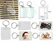 Acrylic Clear Plastic Blank Key Rings Insert Photo Picture UK new 35mm X 50mm