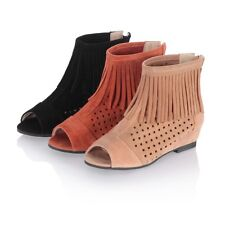 Womens Peep Toe Chunky Heels Tassels Hollow Out Sandals Zipper Ankle Boot Shoes
