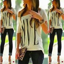 New Sexy Womens Summer Casual LOVE Letter Print Blouse Short Sleeve T Shirt Tops