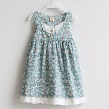 NWT Girls Dress Blue Floral  Cotton Tank Sundress Party Kids Clothing Size 2-8