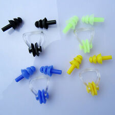 New For Kids Adults Diving Swimming Ear Plugs And Nose Clip Set With Box Lot