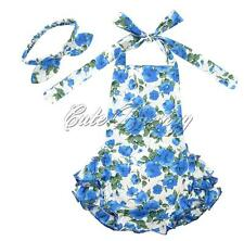 2PCS Girls Baby Halter Floral Romper Ruffle Jumpsuit Dress Party Headband Outfit