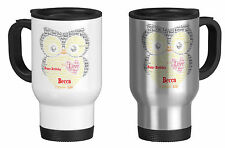 Personalised Travel Mug with Word Art Owl, Teacher Gift, Birthday,your own words
