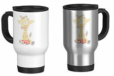 Personalised Travel Mug with Word Art Giraffe, Birthday,your own words
