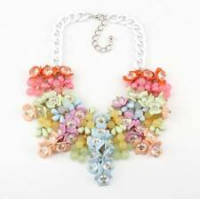 chain big chunky necklace pendant statement women colorful flower necklace 2016
