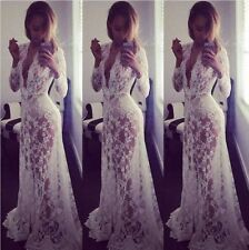 Women Sexy Summer Casual Boho Floral Lace Long Maxi Evening Party Beach Dress