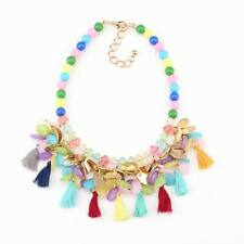 colorful necklace bead chain tassel pendant chunky statement crystal necklace