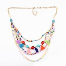 fashion gold chain long bead pendant chunky statement bib necklace for women