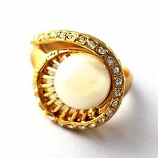 Rare Yellow GF Created Pearl/Clear Zircon Womens Love Ring Size 7,8,9