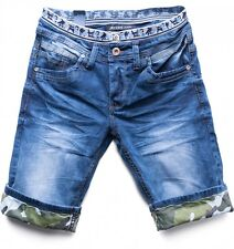 Mens Jean Shorts short Slim Fit Shorts stretch denim trousers Armystyle Cash