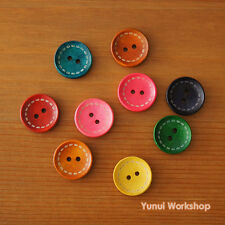 Dotted Line Round Wood Buttons 2 Holes Multicolor 4 Sizes Deco Beads Sewing DIY
