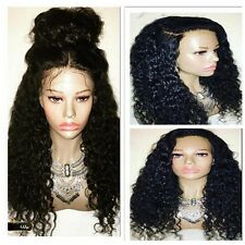"""High Quality Curly Wavy 100% remy human hair baby hair lace full/front wig 8-22"""""""