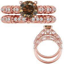 0.75 Ct Champagne Diamond Designer Marriage Promise Ring + Band 14K Rose Gold