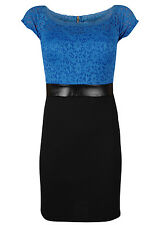 Lace Contrast Blue Bodycon Pencil Dress Skirt Office Vintage Eveningwear Wiggle