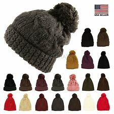Thick Crochet Knit Pom Pom Hip-hop Slouchy Beanie Warm Winter Hat Womens Mens